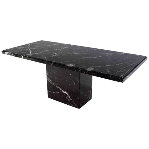 black marble dining table single pedestal black marble top dining table at 1stdibs