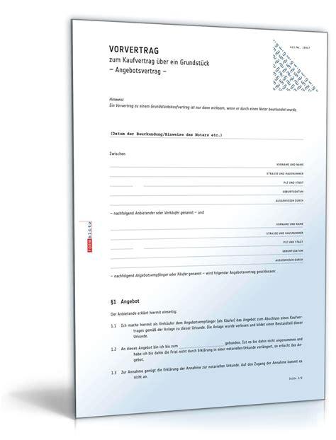 Notarieller Kaufvertrag Haus by Vorvertrag Grundst 252 Ckskaufvertrag Muster Zum