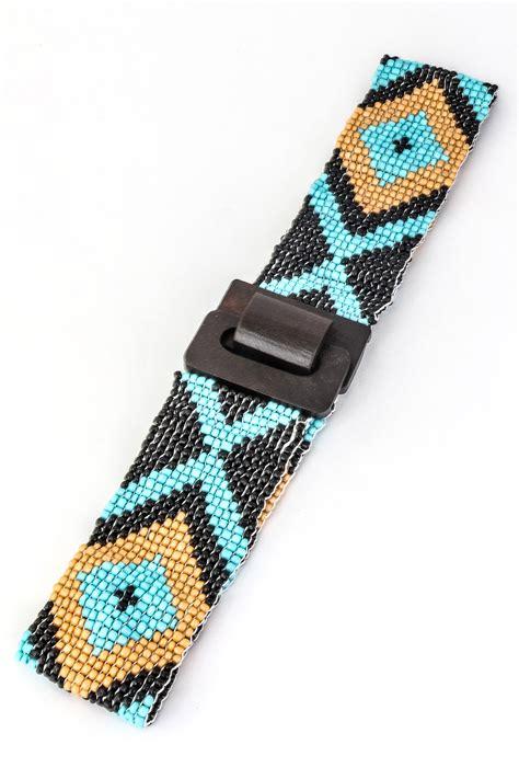 tribal pattern seed bead belt belts