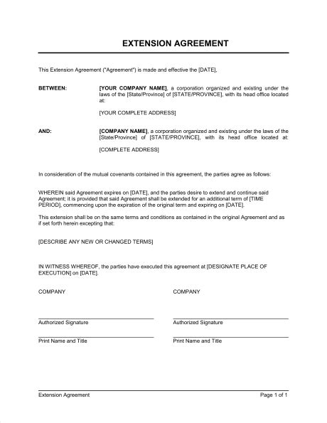 Letter Of Extension Of Employment Contract extension of agreement template sle form biztree