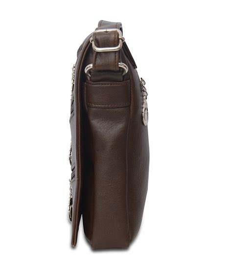 Rollbag Slingbag brown front three pocket sling bag in india shopclues