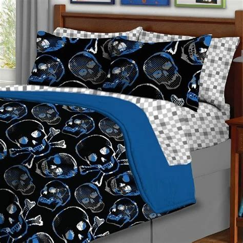 5pc boy blue black skull gothic twin comforter set 5pc bed