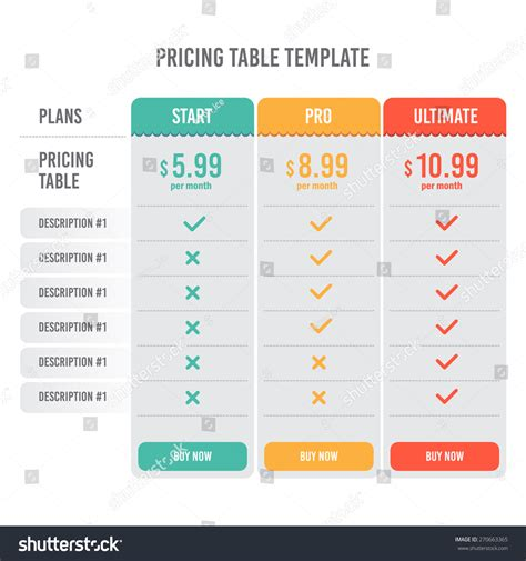 pricing plan template stock photos pricing plan template stock pricing table template with three plan type start pro