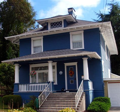 Ranch Craftsman House Plans beautiful old dark blue foursquare house in astoria flickr