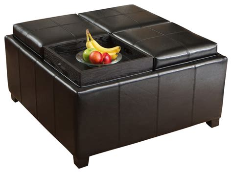 Leather Cube Ottoman With Tray Harley Leather 4 Tray Top Storage Ottoman Black Contemporary Footstools And Ottomans By