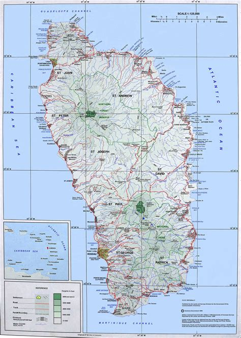 dominica map large detailed topographical map of dominica island