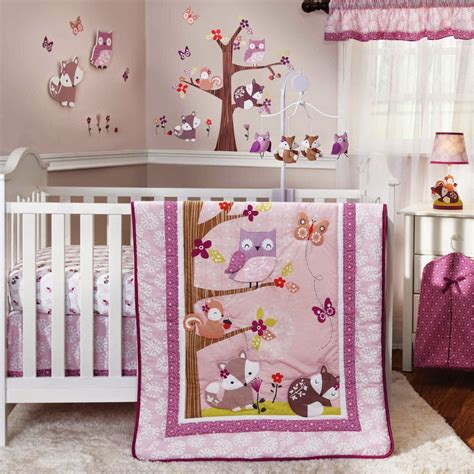 woodland creatures nursery bedding cute owls fox squirrel and other woodland creatures in