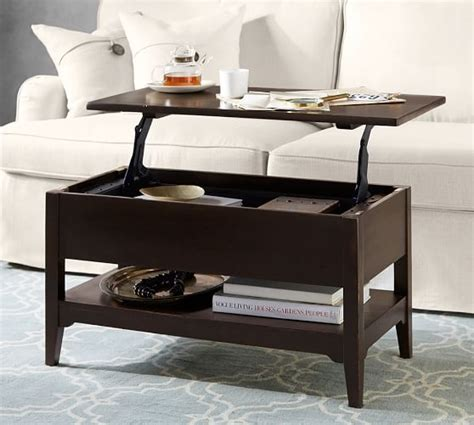 pop up coffee table portola pop up coffee table pottery barn