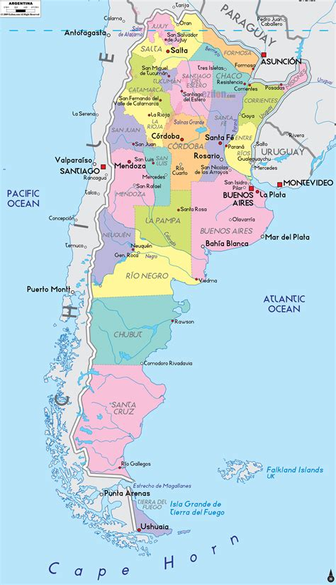 printable map argentina large detailed administrative and political map of