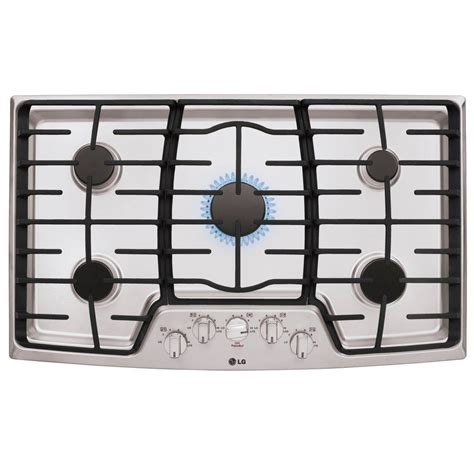 5 burner gas cooktops lg electronics 36 in gas cooktop in stainless steel with
