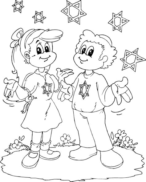 boy and girl with stars of david coloring page coloring com