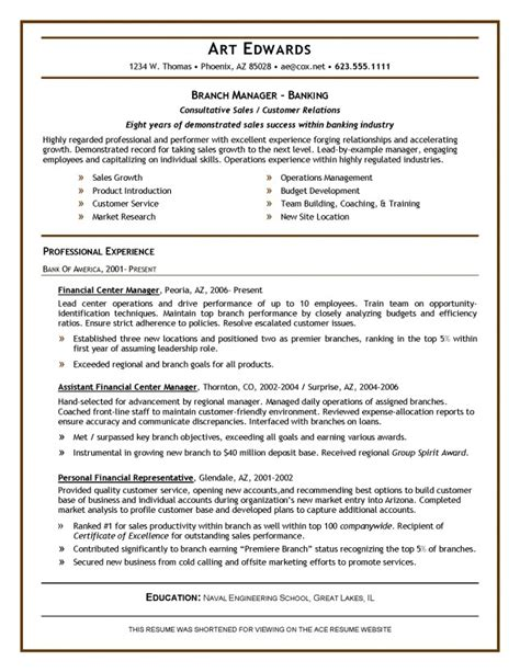 bank manager sle resume bank manager resume template resume builder