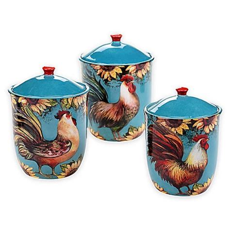 rooster canisters kitchen products certified international sunflower rooster 3 piece canister