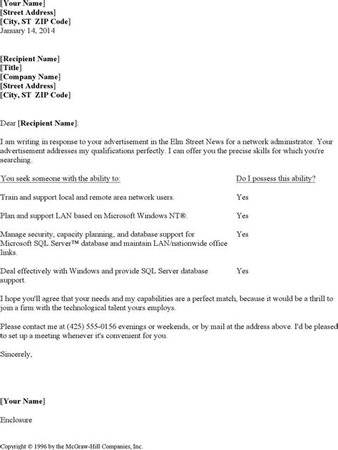 Lan Administrator Cover Letter by Resume Cover Letter For Network Administrator For Free Tidyform