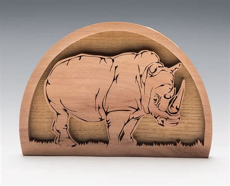 rhino fretwork portrait scroll woodworking crafts