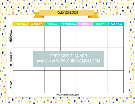printable children s daily planner free printable kids planner cute and colorful