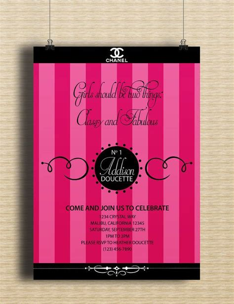 1000 Images About Chanel Themed Party On Pinterest Sweet Sixteen Chanel Party And Photo Chanel Invitation Template