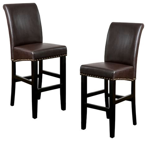 clifton leather bar stool set of 2 brown