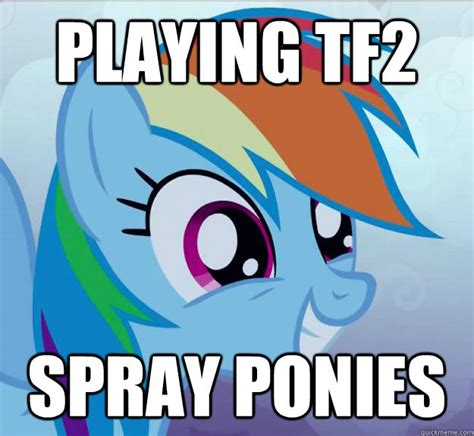 Ponies Meme - playing tf2 spray ponies rainbow dash do want quickmeme