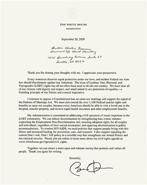 Transfer Back Letter Reply From President Obama Universal Church Monastery