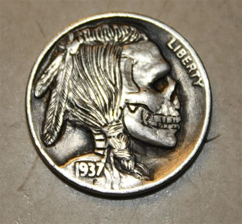 indian skeleton skull hobo nickel