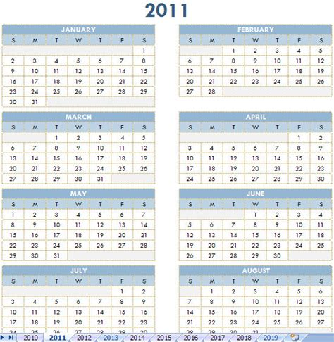 excel calendar template 2011 free