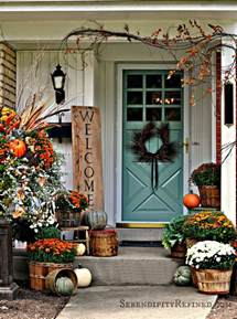 serendipity refined blog fall harvest porch decor with reclaimed wood sign