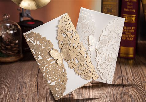 Langka Lasebo Limited Oeiginal butterfly shape vintage handmade wedding invitation cards