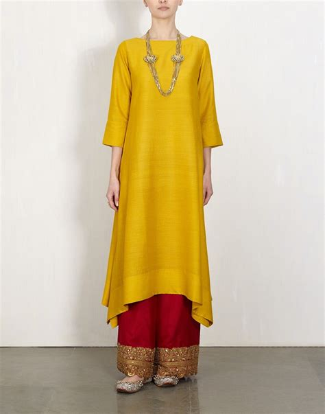 pattern baju punjabi yellow kurta with embroidered pants lajjoo ethnic suit