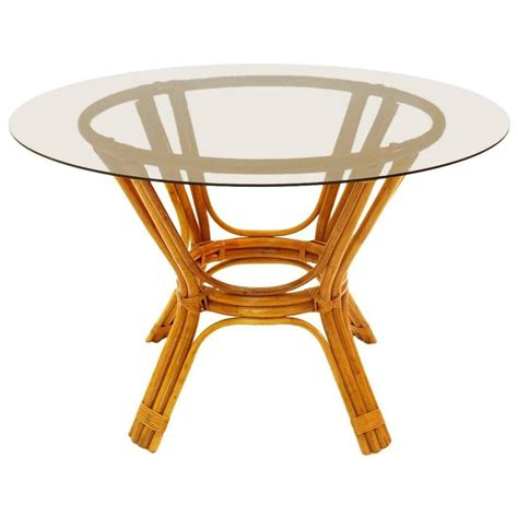 italian vintage bamboo table with glass top 1970s at 1stdibs