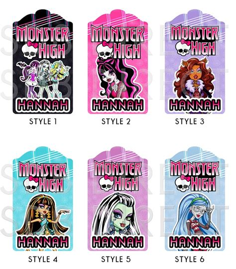 monster high printable name tags 7 best images of monster high printable tags monster