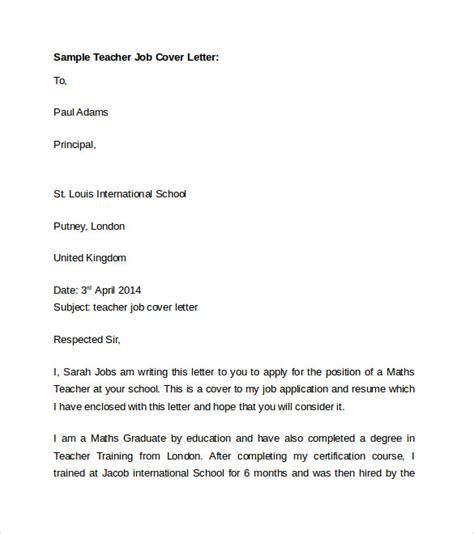 Sle Cover Letter Teaching Position by Cover Letter Template For Resume Cover Letter Resume Sle For Teaching Free