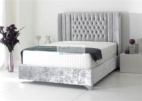wingback oxford upholstered bed frame chesterfield style
