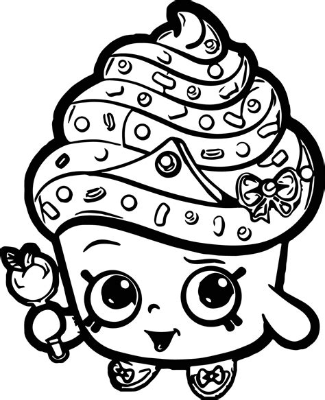Printable Coloring Pages Of Cupcakes by Cupcake Shopkins Coloring Pages Printable 8 Shopkins