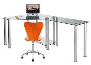 Glass Corner Office Desk Rta Home Office Clear Glass Corner Desk W Extension Table Ct 013r Ebay