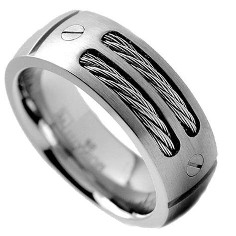 mm mens titanium ring wedding band  stainless steel