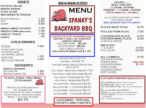 backyard restaurant menu menu from spanky s backyard bbq in six mile sc 29682
