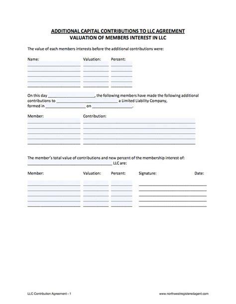 Llc Capital Contribution Llc Contribution Agreement Capital Contribution Agreement Template