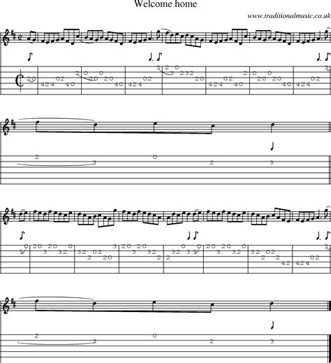 tune welcome home with guitar tab sheetmusic