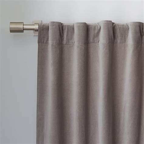 curtain pocket velvet pole pocket curtain dove gray west elm
