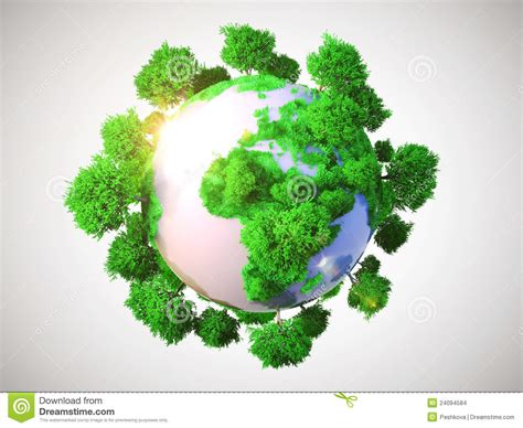 model of earth with oversized trees stock images image