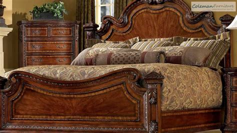 art old world bedroom furniture belmeade wood sleigh upholstered bed in old world oak by