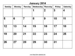 Jan 2014 Calendar 2014 Calendar January Free Printable Calendar