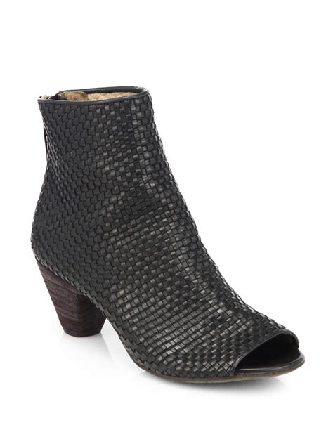 woven boots marsell woven leather peeptoe ankle boots in black lyst