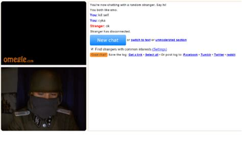 omegle unmoderated section omegle com you re now chatting with a random stranger say