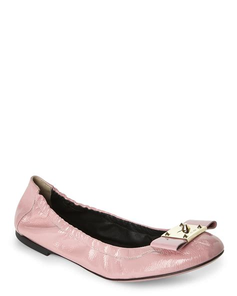 fendi flat shoes fendi pink bow accented ballerina flats in pink lyst