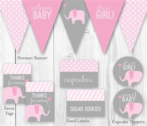 baby shower decorations printable items similar to elephant baby shower package pink
