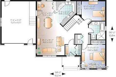 Split Level Style Homes d 233 tail du plan de maison unifamiliale w2163 v2