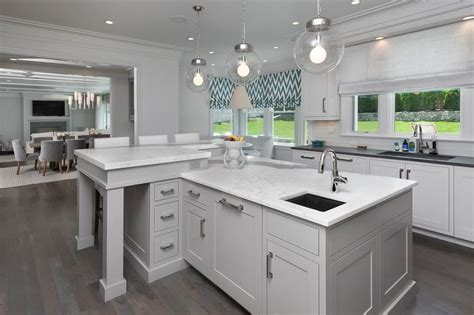 White L Shaped Kitchen With Island by Interior Design Inspiration Photos By Blue Water Home