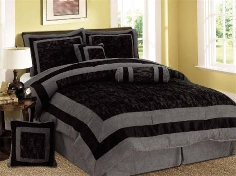 black and gray comforters comforter sets 7 pieces black and grey micro suede